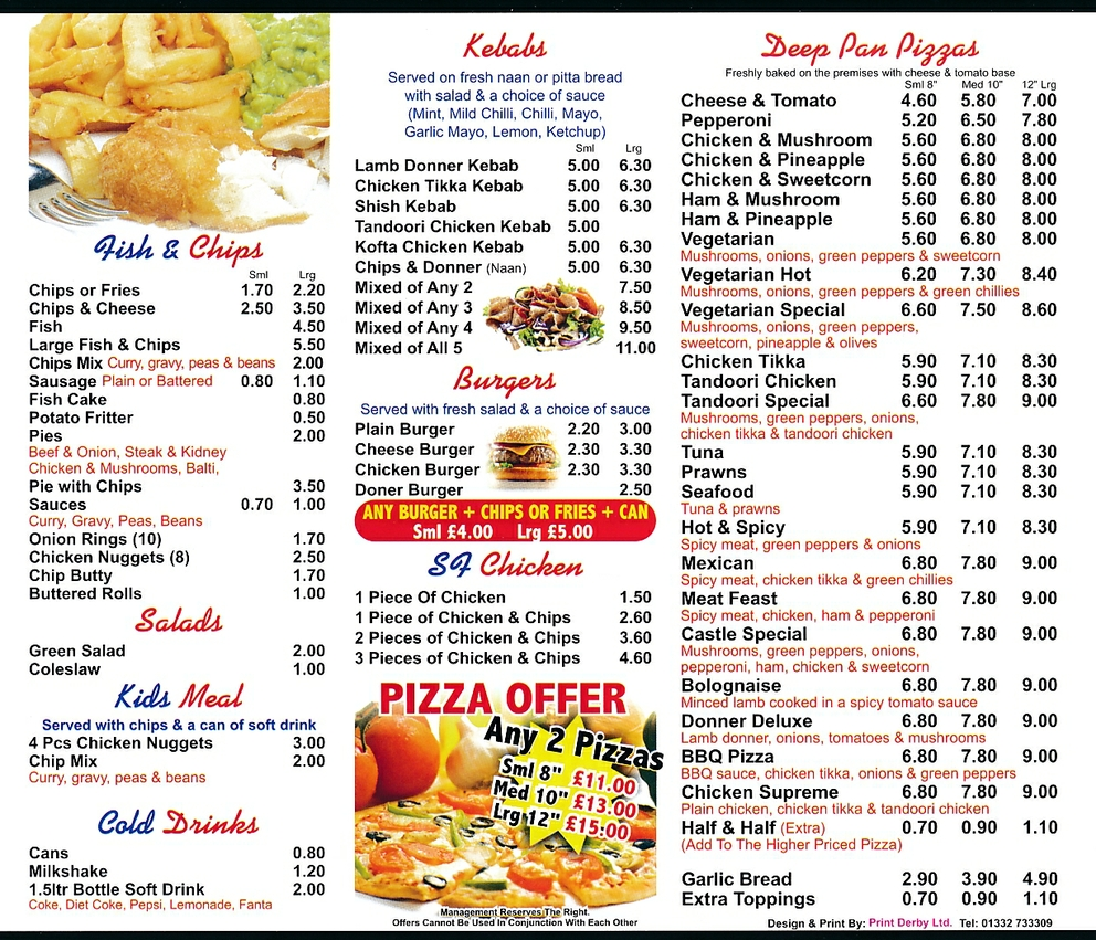 Chinese takeaway full menu