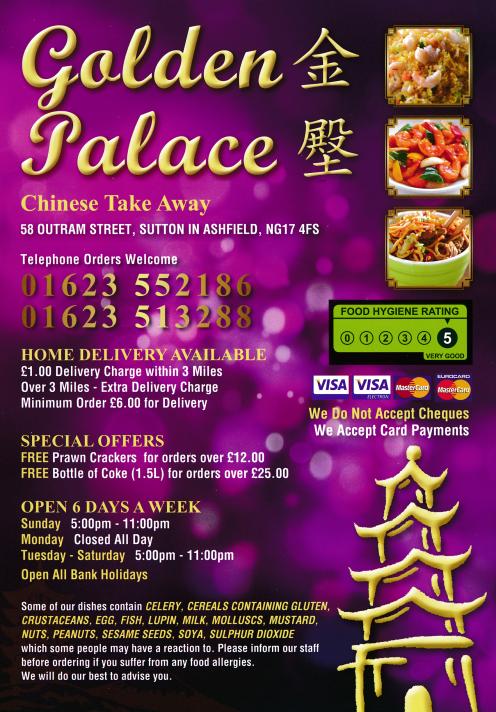 Golden Palace In Sutton In Ashfield Chinese Takeaway Menu