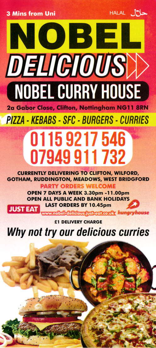 Takeaway Menu For Nobel Delicious Curry House In Clifton