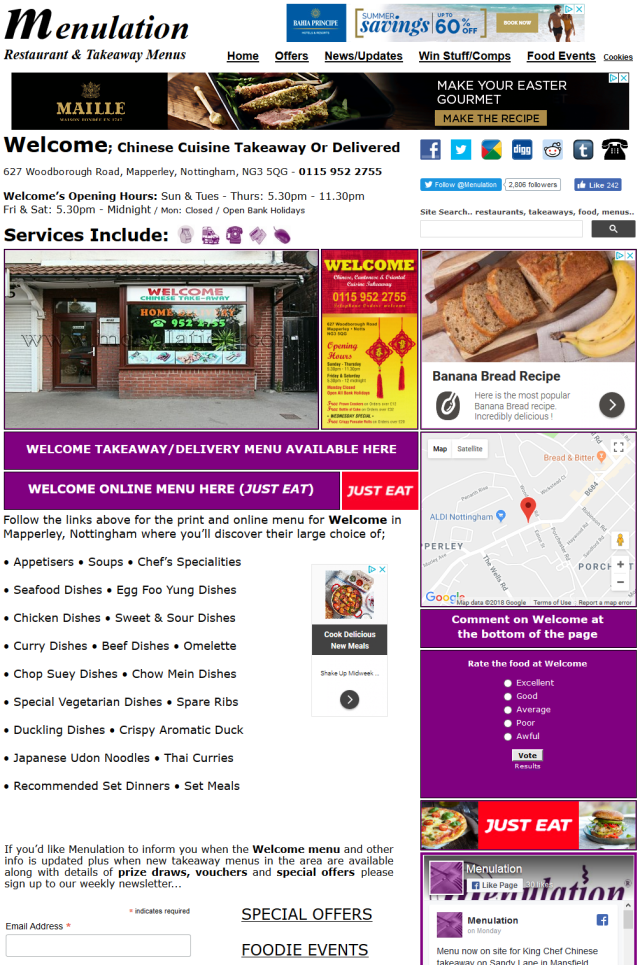 Example of a takeaway info page on the www.menulation.com website - advertising spaces available from just a few pounds per month.